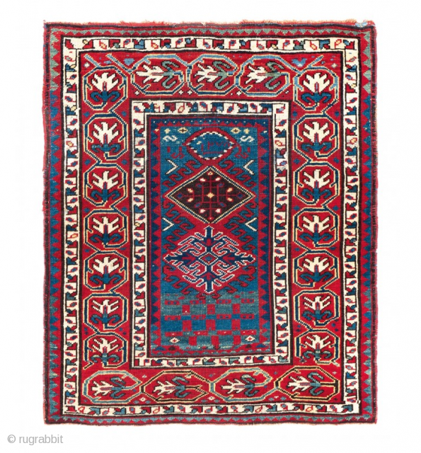 Shahsavan prayer rug with a very unusual design. Dated 1278 (1861). 3-1 x 3-7 ft. Please have a look at our website for more pieces: www.hazaragallery.com