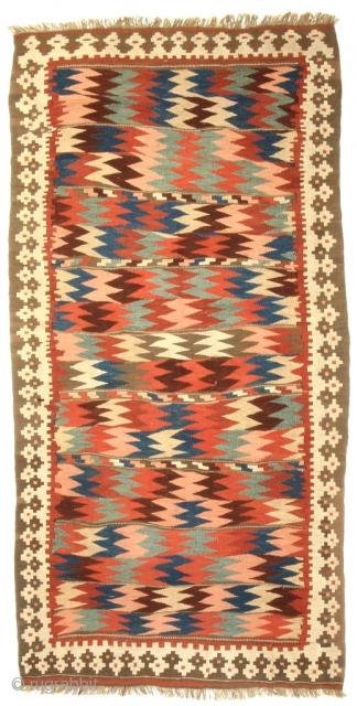 Shahsavan Moj Kilim. Northwest Persia, Bijar area. Late 19th century. 8-8 x 4-5 ft. Please have a look at my website for more: www.hazaragallery.com