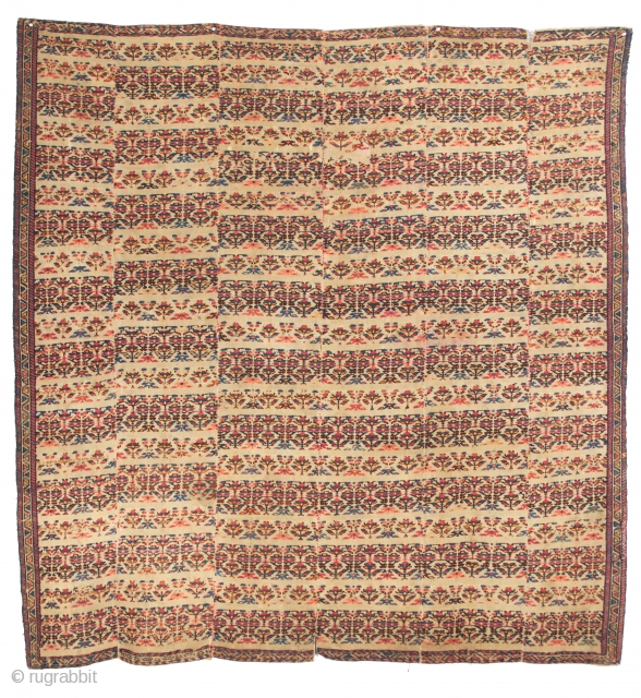 Shahsavan Verneh, Moghan. Late 19th century. Six pieces sewn together along the edges. 5-7 x 5-11 ft. For a similar piece, please refer to the book: SHAHSAVAN by Parviz Tanavoli (pg.157, pl.44).  ...