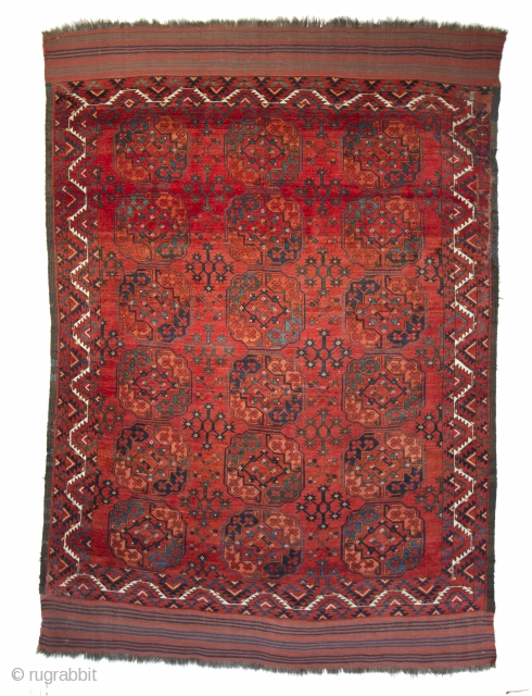 A spectacular Ersari main carpet. Great, natural rich colors and full pile. A minor repair in one corner. 7-5 x 10-6 ft. Please have a look at my website: www.hazaragallery.com