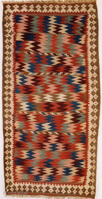 # 2391 Bijar Kilim with Moj design, west Persia, late 19th Century, beautiful natural colors. Size 4-5 x 8-8 ft
