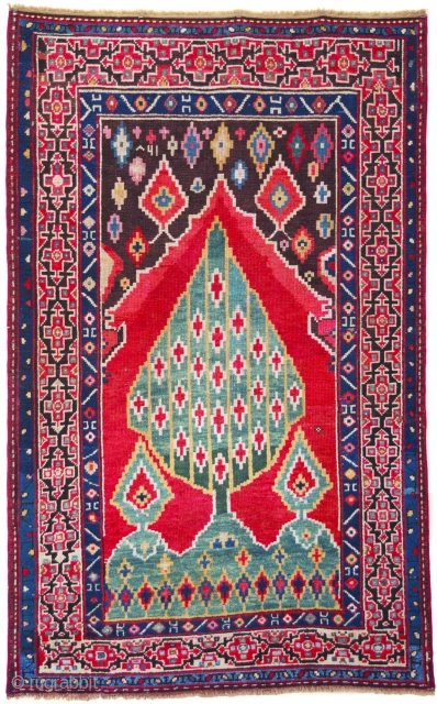 Karabagh Tree of Life Prayer Rug; Southeast Caucasus;Dated 1280 A.H. (1862 A.D.) ;Condition: Small area of brown re-piling; original sides and ends;3ft. 1in. x 4ft. 11in.