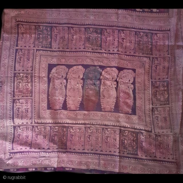Textile from Bengal,India, balucha saree, 19c, 172 x 43 inch