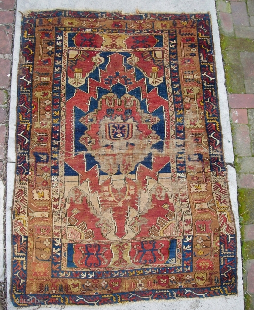 Turkish-- 3 ft 0 by 5 ft 6 inches. Dyes all natural? Not sure. In any case, a really ancient rug. You can see it is well worn. I know zero about  ...