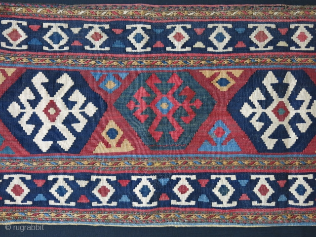 """Shahsavan kilim bedding beg side panel, nice colors and condition, two minor repair touches. Circa 1900  size : 43"""" x 16""""  - 109 cm X 41 cm"""