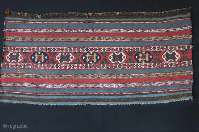 "Shasavan Karadag bedding bag side panel. very fine sumak weave with saturated natural colors. Circa, second part of 19th cent. Size: 38"" X 18.5"" - 96 cm X 47 cm"