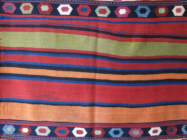 Shahsavan large size mafrash without end panels. probably couple aniline colors. Great condition with saturated natural colors. Can be used as floor spread as it is very strong. Circa late 19th. cent.  ...