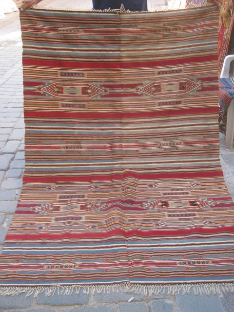 Manastır or Aleppo Syrian Kilim?with silver thread.135x200cm.
