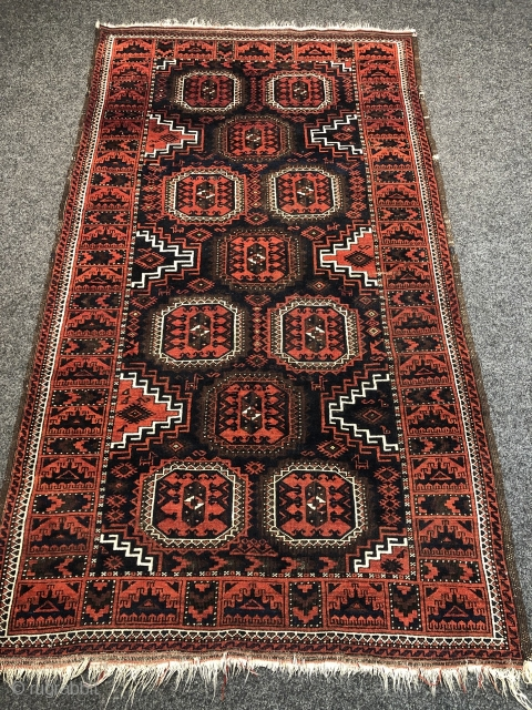 "Fine antique Baluch rug with lovely small animals and a cool ""Ufo"" border, size: 205x115cm / 6'7''ft x 3'8''ft."