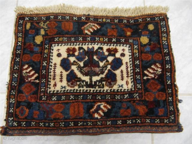 Rare antique Afshar bagface with silk.