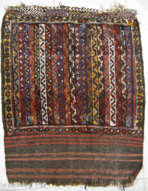 Antique Luri bagface from Southwest-Persia. Beautiful colors and glossy wool. 19th century. Size: ca 65x60cm / 2'2'' x 2' Very nice collector´s piece. Little moth damage. www.najib.de