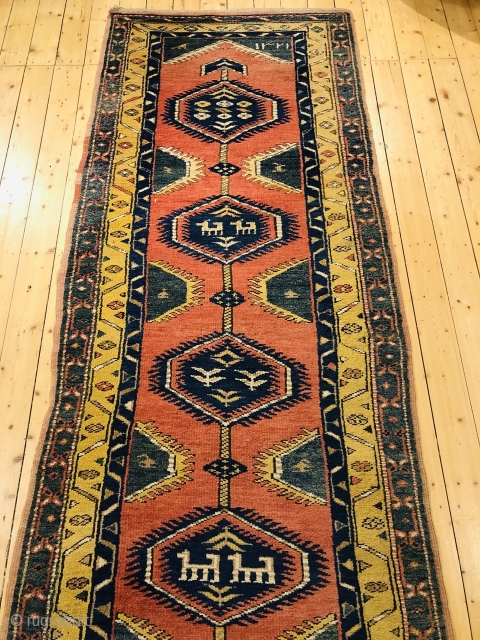 Very decorative antique Northwest Persian runner, size: 330x100cm / 10'9ft by 3'2ft