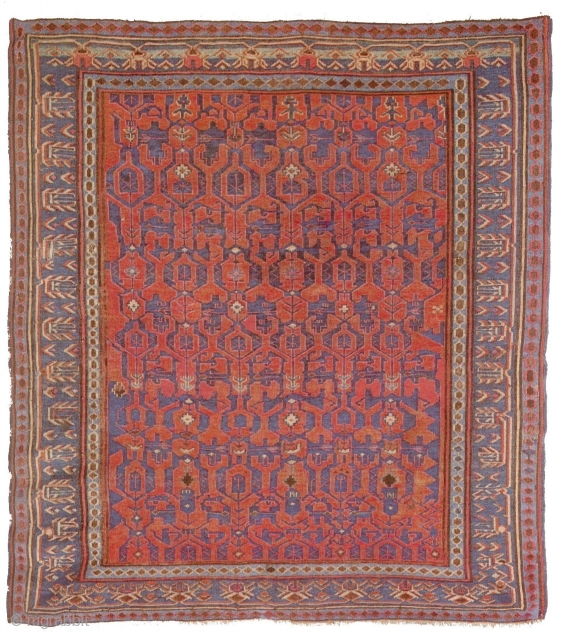 Antique Caucasian Sumakh with rare Konagkend design, sold at Nagel auction in 1984. Now available once again. Size: ca. 150x130cm / 5ft x 4'3''ft