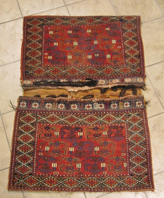 Antique tribal doublebag woven by Afshar tribes of Southpersia. All natural colors, very nice collector´s item. www.najib.de