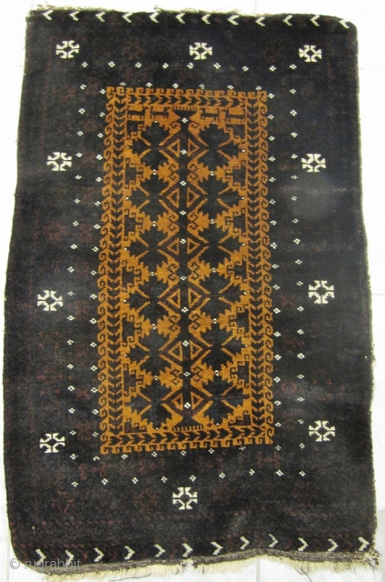 Antique Baluch Balisht with a animal caravan at the top. Very good quality with great wool and a fine weave, good condition . Spots of petrol blue/ green , finely drawn design.  ...