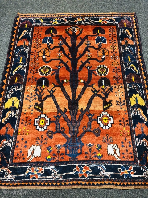 Gabbeh tribal rug from Southpersia, very well executed tree design. Size: 210x160cm / 6'9''ft x 5'3''ft , age: circa 80 years old