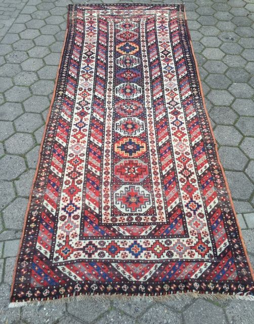 Antique Caucasian long rug. Very good condition with full pile and glossy, shiny wool. Size:ca.325x130cm / 10'7''x 4'3''ft www.najib.de