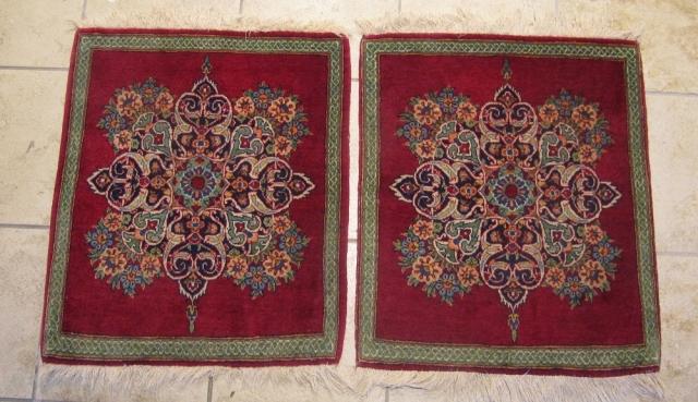 A pair of fine antique Persian Keshan Poshtis. circa 1920. Good condition. Size:  ca. 65x55cm each / 2'2'' x 1'8''ft