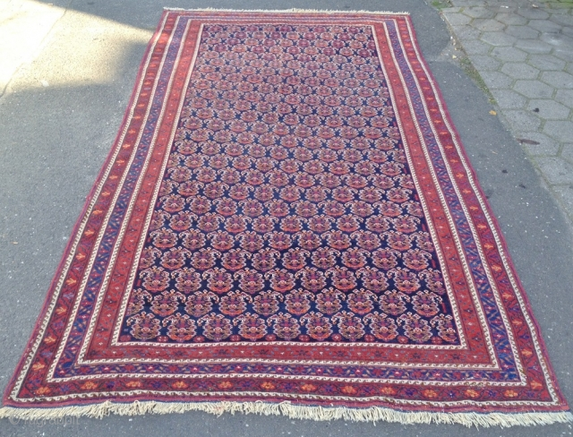 Fresh arrival from a German collection: Large antique Afshar tribal rug from Southpersia with a very well drawn Boteh field pattern. Wool foundation, good quality. Size: ca. 305x165cm / 10ft x 5'5''ft  ...