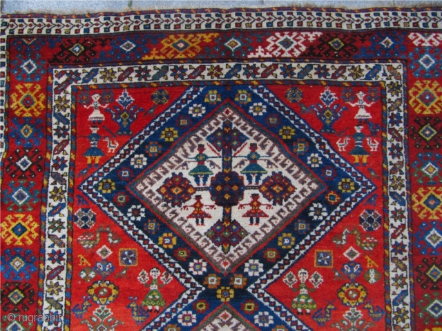 Antique Southwest-Persian Luri-Qashqai tribal rug. Lovely details like people and animals. 19th century. Size: 275cm x 150cm / 9'1'' x 5'' www.najib.de