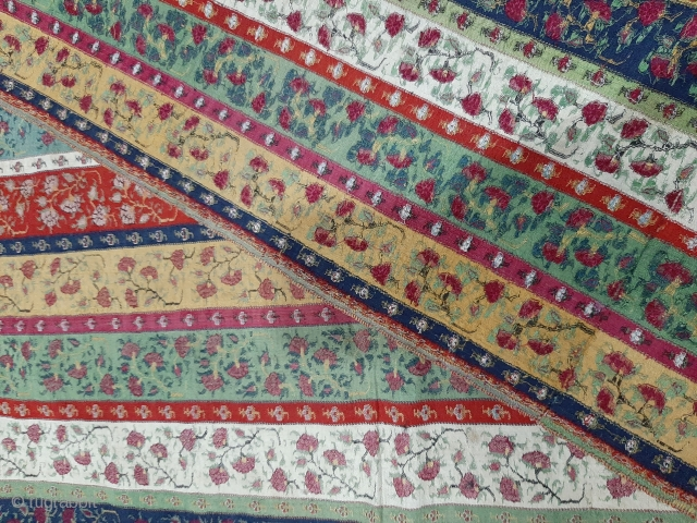 extremely rare antique khatraaz strip shawl 1750 to 1800 era  in good condition it measures 102 inches by 50 inches some moth holes but can be repaired it nice coloures.