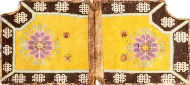 """BeautifulSaffronYellow Antique Chinese Saddle Rug 47784, Size: 2' x 4'8"""", Origin: China, Circa: Turn of the 20th Century - Here is a unique and exciting antique Oriental rug - an antique Chinese  ..."""