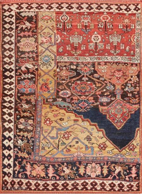 AntiquePersianBidjar Sampler Rug 47377, Size: 4' x 5', Origin: Persia, Circa: Final Quarter of the 19th Century - Created to illustrate the potential and variations in designs, colors and compositional features, this  ...