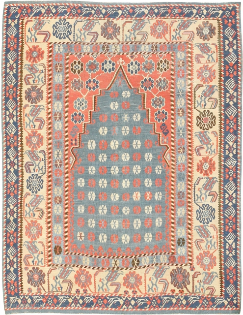 "Antique Turkish Kilim Rug 49067, Size: 4'3"" x 5'4"", Country of Origin / Rug Type: Turkish Rugs, Circa Date: 1900 - This Kilim rug uses powerful colors to create clear interest points of  ..."
