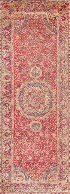 """17th Century ,Indian Lahore Mughal carpet. Size is 9' x 24'8"""" ."""