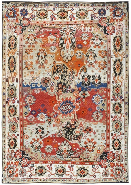 """Antique Caucasian Karabagh Rug 50046, Size: 4'6"""" x 6'2"""", Caucasus, Circa 1900 --This antique Caucasian Karabagh rug is a striking piece rich in meaning and history. A sand-colored border rich with breathtaking  ..."""