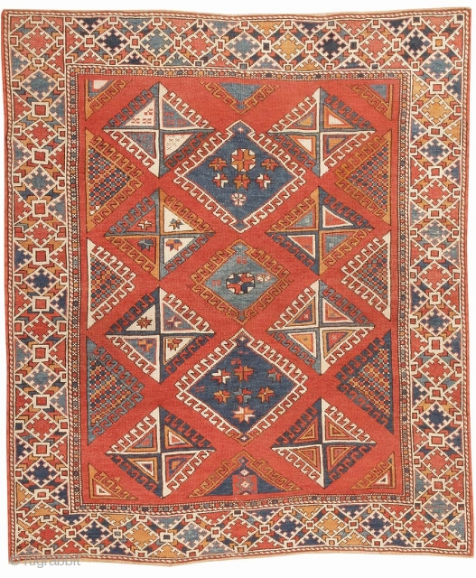 """AntiqueBergama Rug 44627, Size: 5'10"""" x 6'10"""", Origin: Turkey, Circa: 19th Century - A design of diamond medallions with latch-hook contours repeats in allover symmetry on this outstanding antique Bergama. The medallions  ..."""