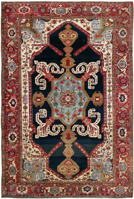 "Antique Persian Heriz Serapi Rug 44177, Size: 12'7"" x 19', Country Origin: Persia, Circa date: Turn of the Century - Heriz Serapi rugs are renowned for the graphic monumentality of their design and  ..."