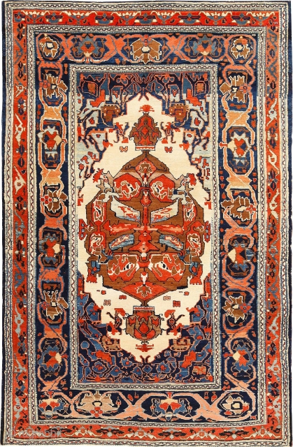 Antique Tribal Rug Persian Bakshaish Rug , Country of Origin / Rug Type:   Persian Rugs, Circa Date: 1850 -The geometric shapes, contrasting colors and high quality of the composition exemplify  ...