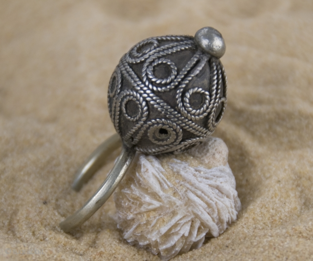 Old Berber pure silver, hand made,  balloon ring from South Morocco, Tata.