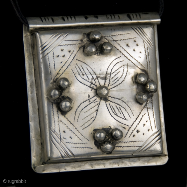 Old Berber Kitab,  pure silver  hand made amulet from High Atlas region, Morocco, protective talisman made from silver, which usually contain verses ( Surah ) on paper, from the Holy  ...