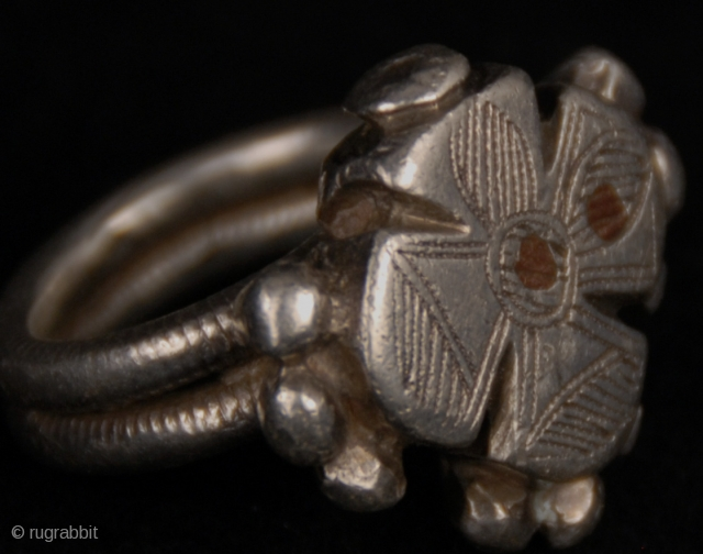 Old  silver ring from Fulani (Peul) tribe, in Djenne, Mali 