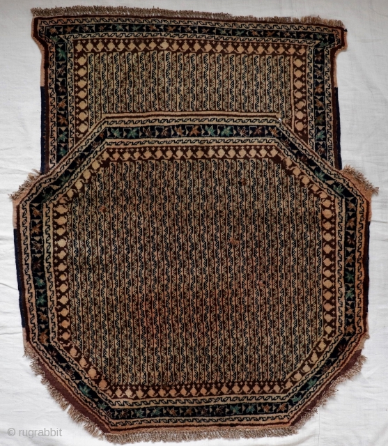 A Neyriz region saddle cover from South West Iran. Very well preserved, with four tiny repairs (see pictures), maybe caused by the friction with the saddle. Long pile, edges in original condition.  ...
