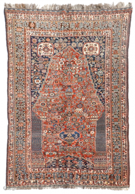 Fantastic Millefleurs rug from the Qashqai Kashkuli tribe of Iran. This rug is woven from soft, shiny wool with a high density of knots. The range of colors is vibrant and simply  ...