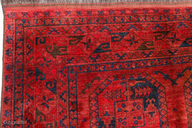 This rug from the Daulatabad region was woven by Ersari weavers from Afghanistan. It is woven with a high knot density and is quite square in size, unusual for vintage rugs.In perfect  ...