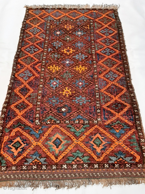 """Afghanistan Belouch piled """"balisht"""" or bag front, 100x58cm, early 20th c., soft shiny wool with wonderful vibrant natural colours including amazing yellow, excellent condition with full overall pile."""