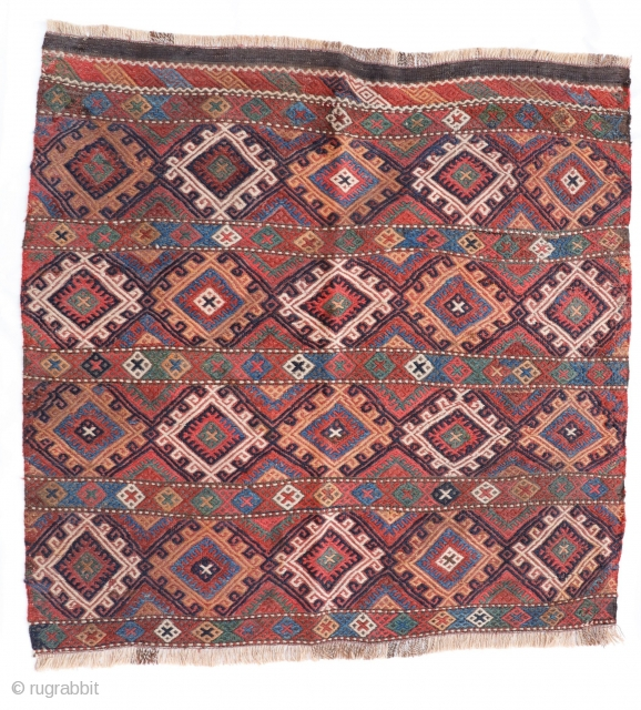A kilim woven with soumak technique by an ethnic Kurdish woman. All dyes are natural. Bought in my last trip to Iran. 90×94 cms. 1900s. k1910233. You can buy it directly from  ...