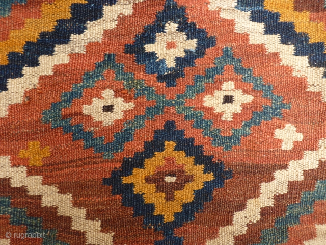 Just arrived from Iran, Luri kilim (it is not Uzbek), nice earthy colours, good condition including original fringes, 225x180 cms, (k14772)