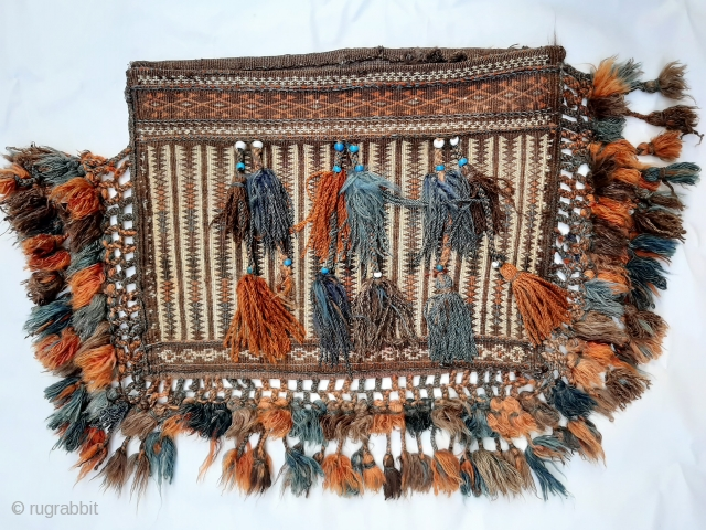 Afghan Belouch bag, 41x57cms (60x90cm approx. incluiding braiding). Attractive authentic nomadic bag in excellent condition, ideal for use a cushion or as a wall hanging. Highly skilled floating weft technique to front  ...