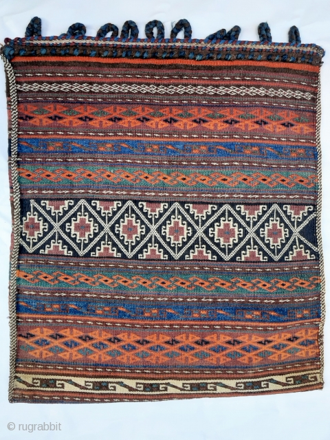 Afghanistan Aimaq Belouch nomadic bag in excellent condition. 75x64cms. Beautiful colours and accomplished floating weft technique. Ideal as a big cushion or as a floor cushion, or just to add to your  ...