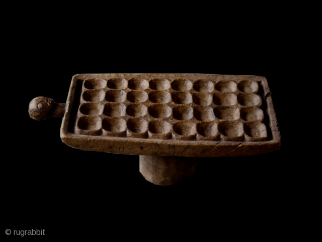 """Game board cod. 0149. Carved wood. Luba people. South East region D.R. of Congo. Mid. 20th. century. Good condition with corrosion to the leg. Cm. 76 x 34 x 26 h. (2'6""""  ..."""