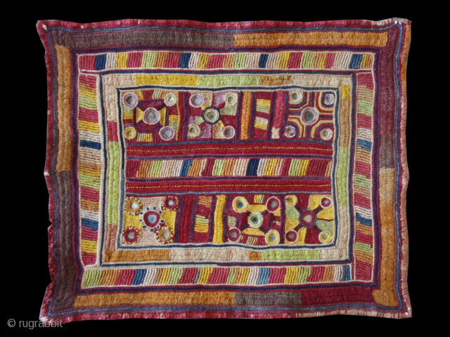 "Gala cod. 0710. silk embroidery on cotton. Karnataka area. India. First half 20th. century. Dimension cm. 30 x 25 (12"" x 10"")."