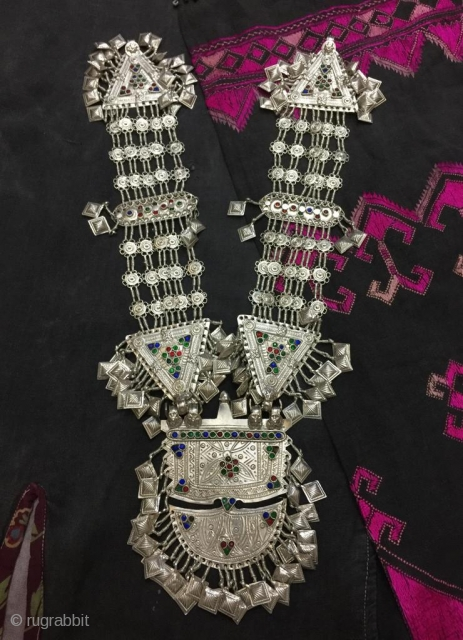 Tribal baluch silver necklace from Balochistan,Pakistan. Complete handcrafted , high grade silver  Weight  336 grams
