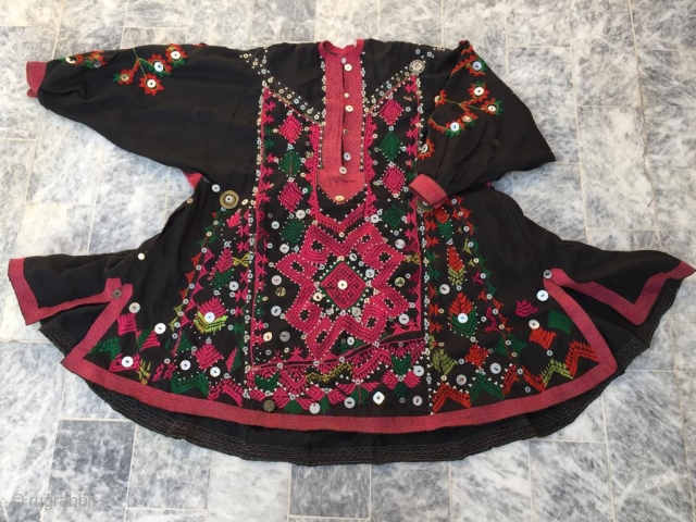 "Tribal ""jumlo""  wedding dress , hand embroidered Vintage woman dress from Kohistan region of Northern Pakistan.