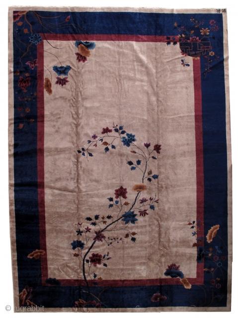 Handmade antique art deco Chinese rug 11.4' x 15.8' ( 347cm x 481cm) 1920s - 1B469