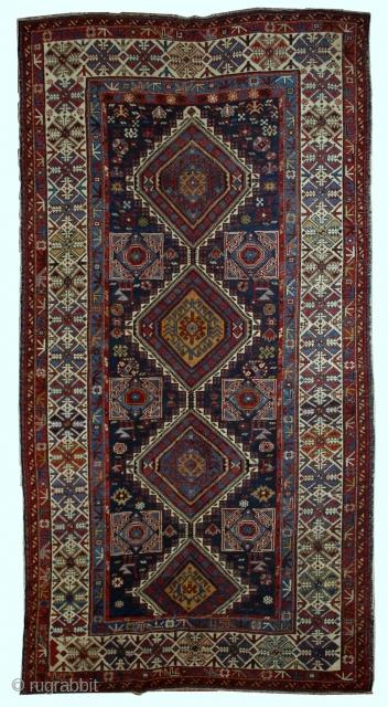 Handmade antique Caucasian Shirvan rug 4.8' x 7.10' (146cm x 242cm) 1880s - 1B563